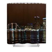 Tall Ships At Night Panorama Set Panel 1 Shower Curtain