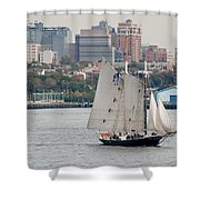 Tall Ships In The Harbor Shower Curtain