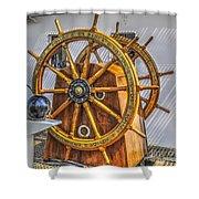 Tall Ships Wheel Shower Curtain