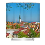 Tallinn From Plaza In Upper Old Town-estonia Shower Curtain