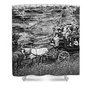 Tallyho Stagecoach Party C. 1889 Shower Curtain by Daniel Hagerman