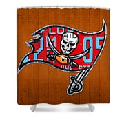 Tampa Bay Buccaneers Football Team Retro Logo Florida License Plate Art Shower Curtain