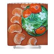 Tangerine Slices And Ceramics Shower Curtain