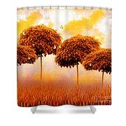 Tangerine Trees And Marmalade Skies Shower Curtain by Mo T