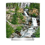 Tangle Falls Along Icefield Parkway In Alberta Shower Curtain
