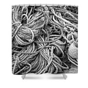 Tangled Rope And Lobster Fishing Gear On Dock Maine Shower Curtain