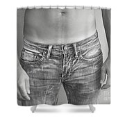 Tanline In Jeans Black And White Shower Curtain