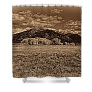 Taos Mountain In Platinum  Shower Curtain