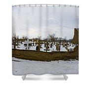 Taos Pueblo Cemetery Shower Curtain