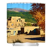 Taos Pueblo South In Autumn Shower Curtain
