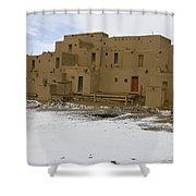 Taos Pueblo With Snow Shower Curtain