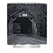 Tappan Covered Bridge Bw Shower Curtain
