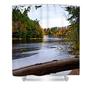 Taquamenon River And Lower Falls  Shower Curtain