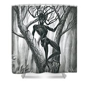 Tar Girl In A Tree Shower Curtain