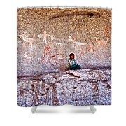 Tarahumara Boy In Painted Cave Near Chihuahua-mexico Shower Curtain