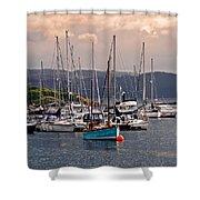 Tarbet Harbor At Sunrise Shower Curtain
