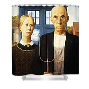 Tardis V Grant Wood Shower Curtain