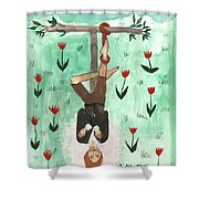 Tarot 12 The Hanged Man Shower Curtain