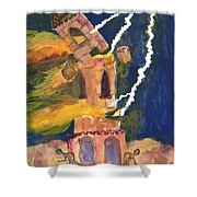 Tarot 16 The Tower Shower Curtain