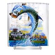 Tarpon Leap Shower Curtain
