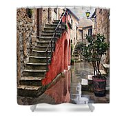 Tarquinian Red Stairs Shower Curtain