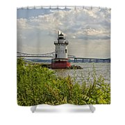 Tarrytown Lighthouse And The Tappan Zee Bridge Shower Curtain