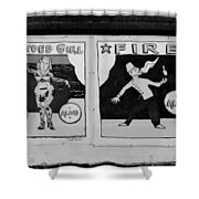 Tattoos And Fire In Black And White Shower Curtain