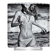 Ms Turkey Tatyana Running In The Ocean Waves - Glamor Girl Photo Art Shower Curtain