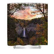 Taughannock Falls Autumn Sunset Shower Curtain