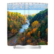 Taughannock River Canyon In Colorful Autumn Ithaca New York Panoramic Photography  Shower Curtain