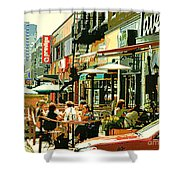 Tavern In The Village Urban Cafe Scene - A Cool Terrace Oasis On A Busy Hot Montreal City Street Shower Curtain