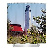 Tawas Point Lighthouse...from Tawas Bay Side Shower Curtain