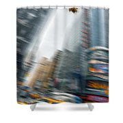 Taxi On Times Square Shower Curtain