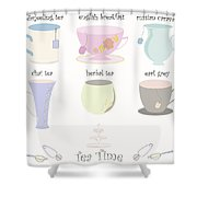 Tea Cup Collection Vector Shower Curtain