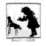 Tea Party Dolly Silhouette Shower Curtain