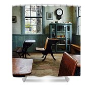 Teacher - One Room Schoolhouse With Clock Shower Curtain by Susan Savad