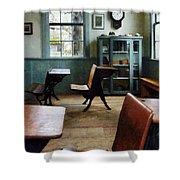 Teacher - One Room Schoolhouse With Clock Shower Curtain
