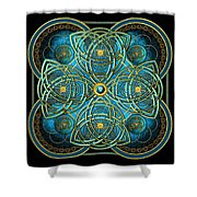 Teal Blue And Gold Celtic Cross Shower Curtain