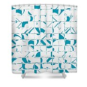 Teal Glyphs  Shower Curtain
