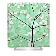 Teal Greens Leaves Melody Shower Curtain