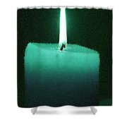 Teal Lit Candle Shower Curtain