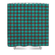 Teal Red And Black Plaid Fabric Background Shower Curtain