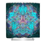Teal Starfish Shower Curtain