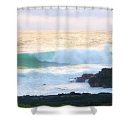 Teal Wave On Golden Waters Shower Curtain