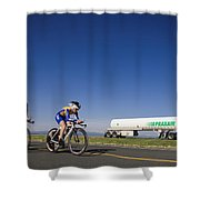 Team Time Trial Chasing A Tanker Truck Shower Curtain