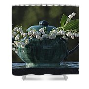Teapot And Lily Of The Valley Shower Curtain