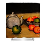 Teapot With Some Fruit Shower Curtain
