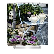 Teapots And Flowers Shower Curtain