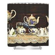 Teapots On Grundge Shower Curtain