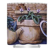 Teapots On Parade Shower Curtain